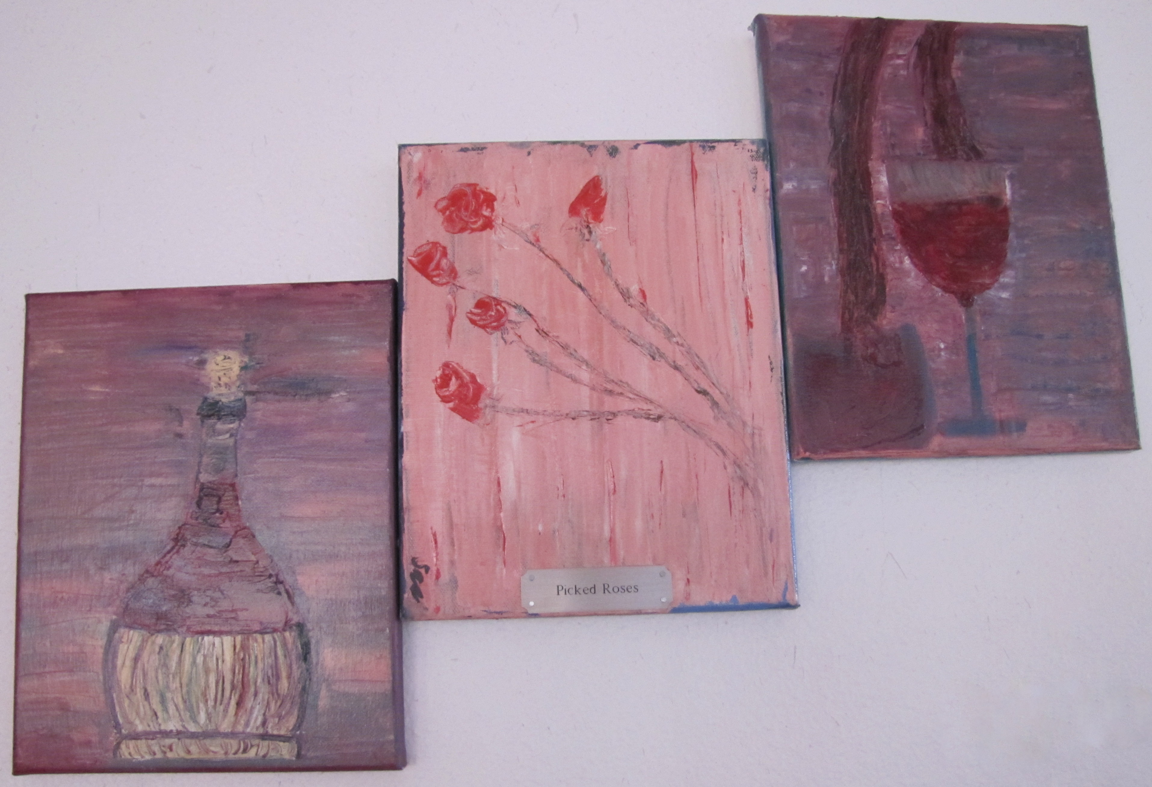 Wine and Roses - 10X24 $75.00/set of 3